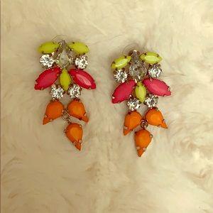 Neon dangle statement earring